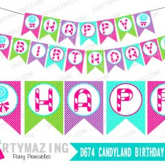 Printable DIY Happy Birthday Candyland Banner Decoration | PK05 | E155