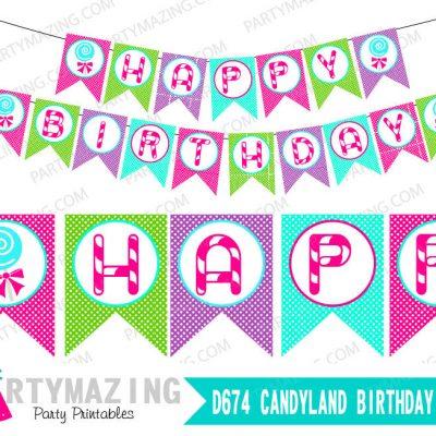 Printable DIY Happy Birthday Candyland Banner Decoration | E155