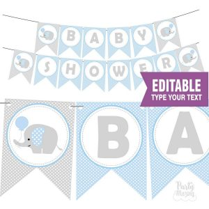 Printable Elephant Baby Shower Banner| Printable Flag Pennant | Blue Shower | Editable Text | Cute Last Minute Banner | | E158