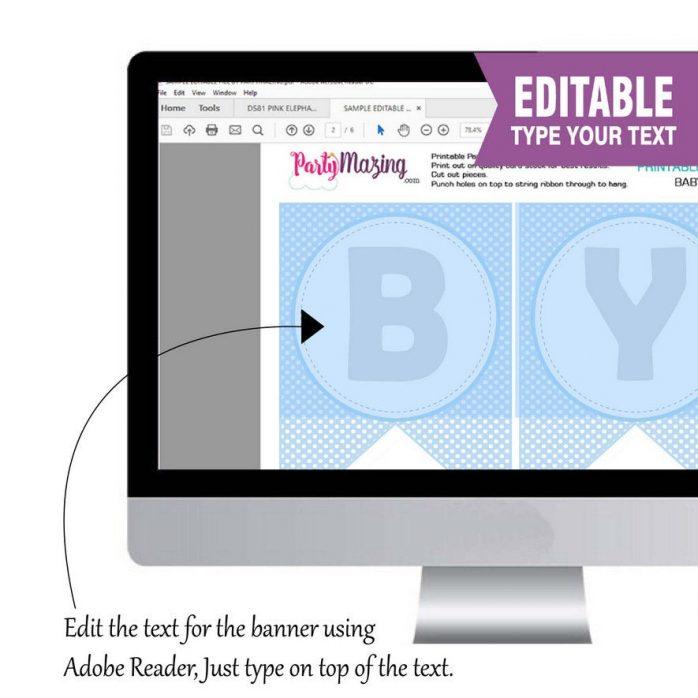 Printable Elephant Baby Shower Banner| Printable Flag Pennant | Blue Shower | Editable Text | Cute Last Minute Banner | | E158