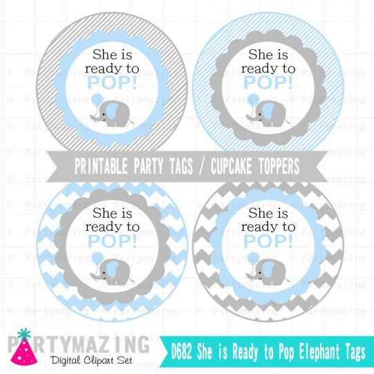 Printable Elephant Baby Shower Tags, Cupcke Toppers, Popcorn Stickers | E232