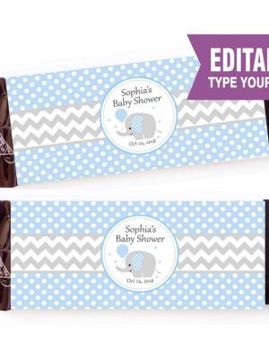 Blue Elephant Printable Chocolate Wrappers E086