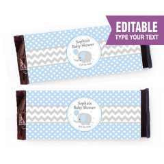 Blue Elephant Chocolate Wrappers | Printable Baby Shower Labels | PK03 | E086