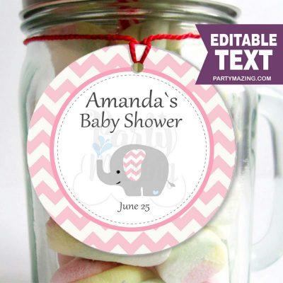 Pink Elephant Printable Baby Shower Gift Tag |PK03| E065