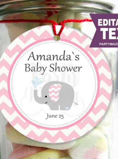 Pink Elephant Printable Baby Shower Gift Tag E065
