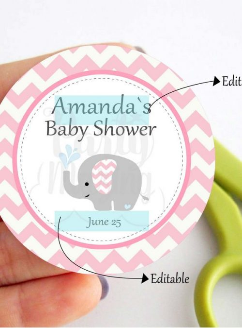 Printable Elephant Tags | Baby Shower Stickers | Girl Shower Stickers | Baby Cupcake Toppers | Gift Tag Template | BBEP2 | E065