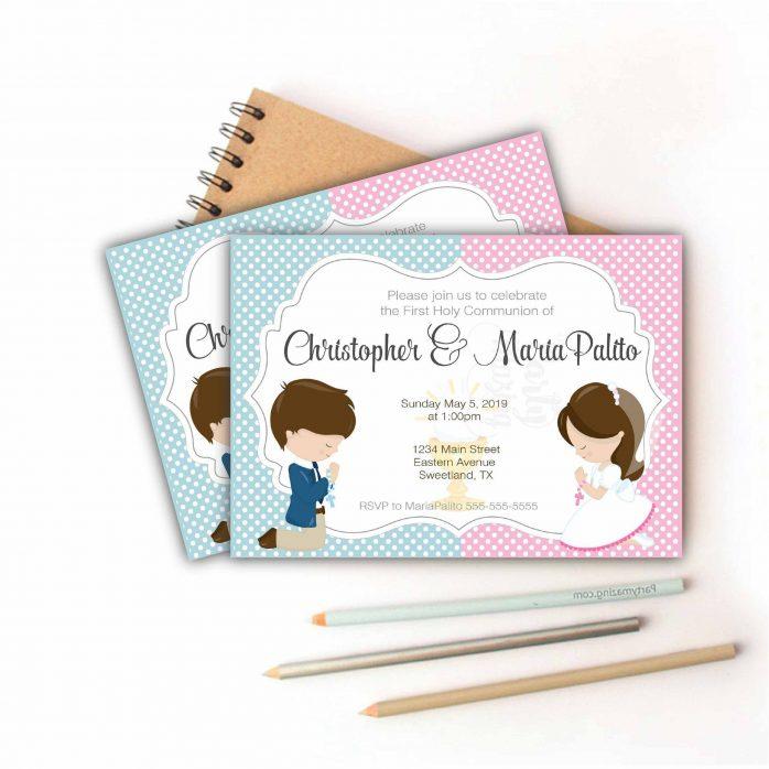 Printable First Communion Invitation | Twins Girl's and Boy's First Communion Invitation COM1 | E180