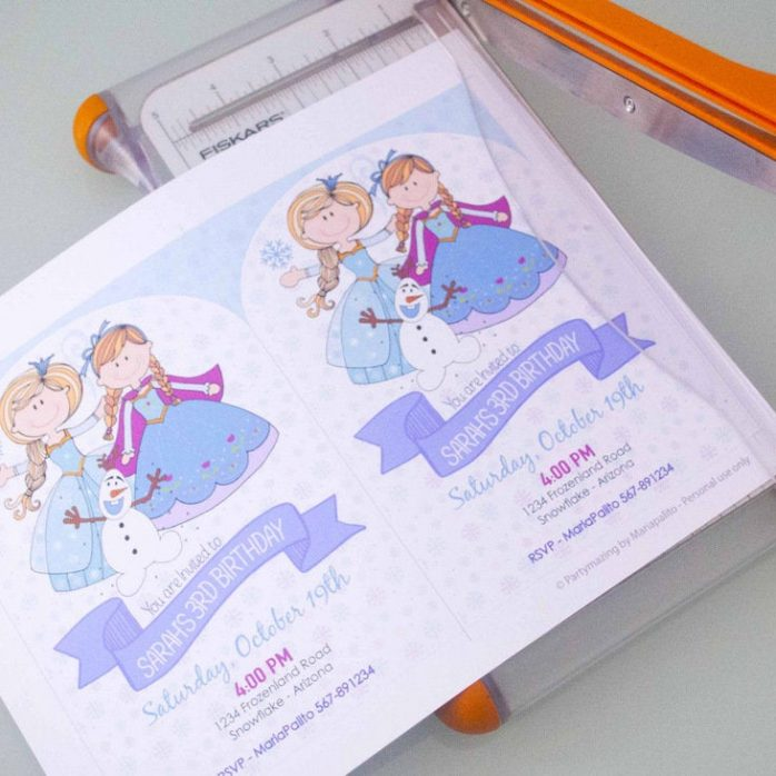 Printable Frozen Birthday Invitation, Hand Drawn Personalized Winter Birthday Party Invite | E394