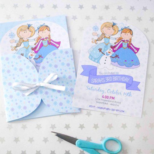 Printable Frozen Birthday Invitation, Hand Drawn Personalized Winter Birthday Party Invite | E394