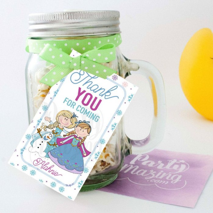 Printable Frozen Birthday Tags, Personalized Hand Drawn Frozen Birthday Tag,  Rectangle Tag E392