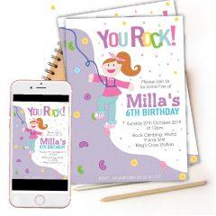 Printable Girl Rock Wall Birthday Invitation for your Little Girl   E384