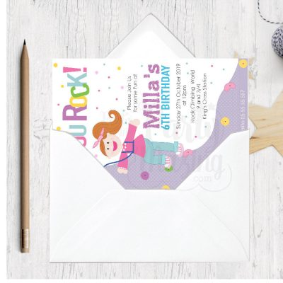 Printable Girl Rock Wall Birthday Invitation for your Little Girl | E384