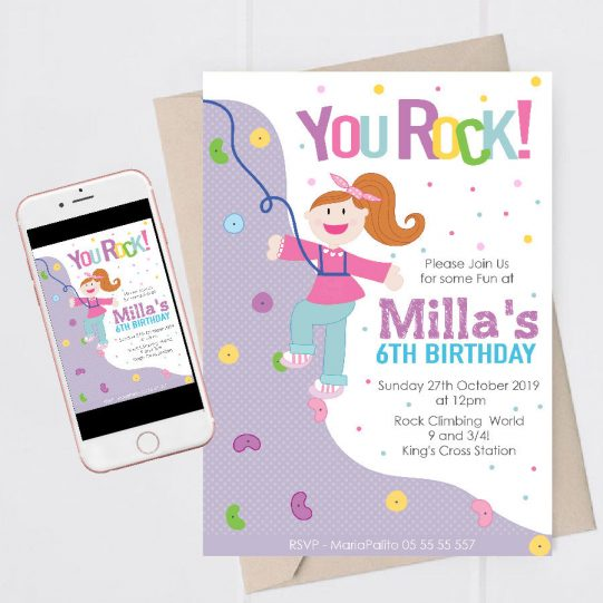 Printable Girl Rock Wall Birthday Invitation for your Little Girl | E384