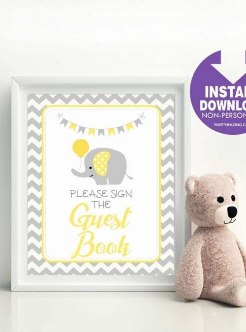 Printable Guest Book Sign | Yellow and Grey Elephant Baby Shower Party Sign | DIY | BBEY1 | E123