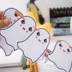 Printable Halloween Mini Ghost Bunting Banner, Spooky Cute Halloween decoration E374