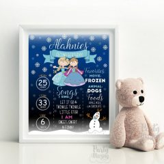 Printable Hand Drawn Frozen Birthday Milestone Sign For Your Little Girl, Personalized Chalkboard Sign | E393