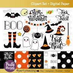 Hand-Drawn Halloween ClipArt Set & Matching Digital Paper for your Halloween Crafts | E205