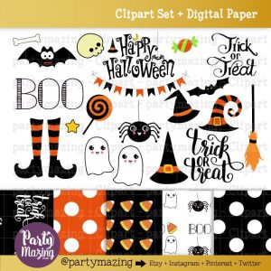 Printable Hand Drawn Halloween ClipArt Set & Matching Digital Paper for your Halloween Crafts | E205