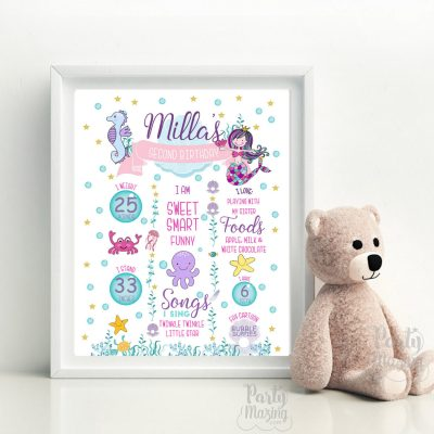 Printable Hand Drawn Mermaid Under The Sea Birthday Milestone Sign For Your Little Girl | E388