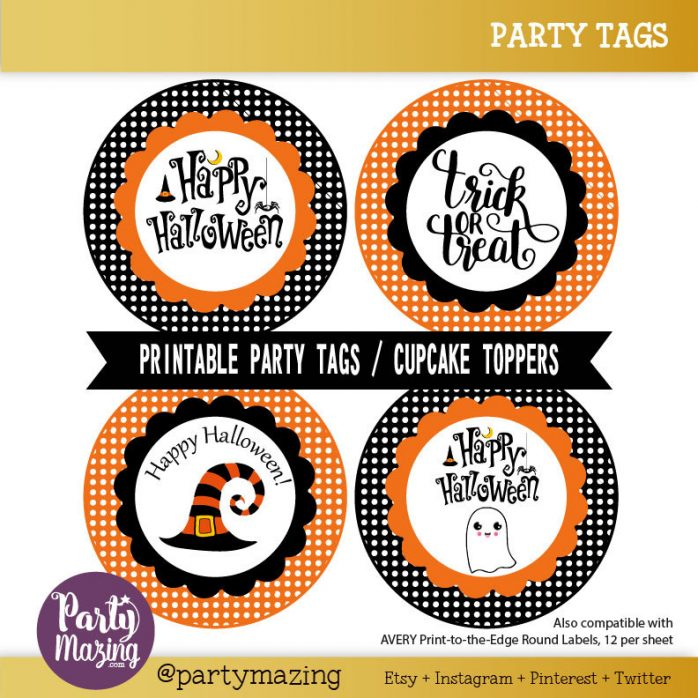 Printable Happy Halloween Tag Sticker, Cupcake Toppers or Lables for your Kids| E238