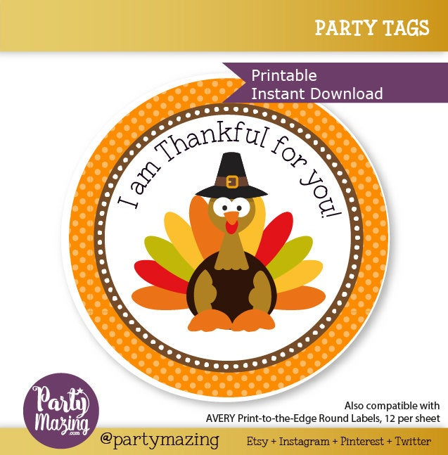 Printable I Am Thankful For You Turkey Thanksgiving Day Tags| E277