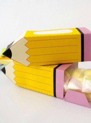 School Yellow Pencil Printable Gift Box E108