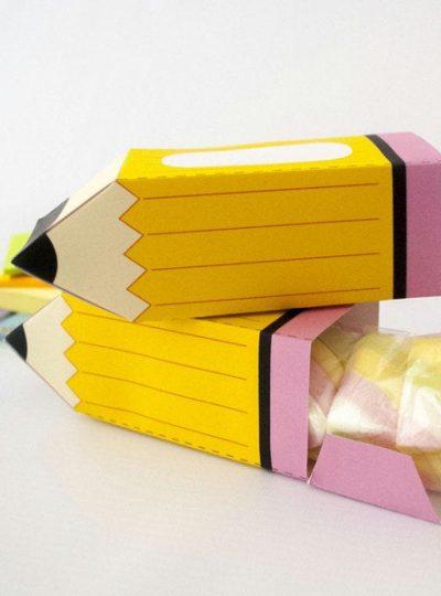 School Yellow Pencil Printable Gift Box E108