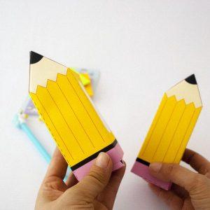 School Yellow Pencil Printable Gift Box   PK12   E108