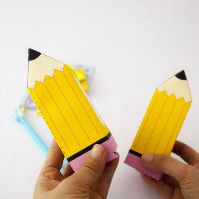 School Yellow Pencil Printable Gift Box | PK12 | E108