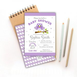 Printable Lavender Owl Baby Shower Invitation | E329