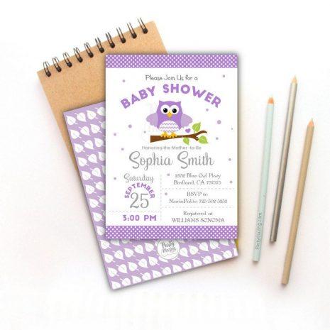 Printable Lavender Owl Baby Shower Invitation | E329