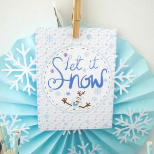 Printable Let it Snow Snowman Sign, Hand Drawn Olaf Winter Birthday Party Decor| E360
