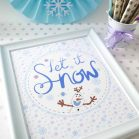 Printable Let it Snow Snowman Sign, Hand Drawn Olaf Winter Birthday Party Decor  E360