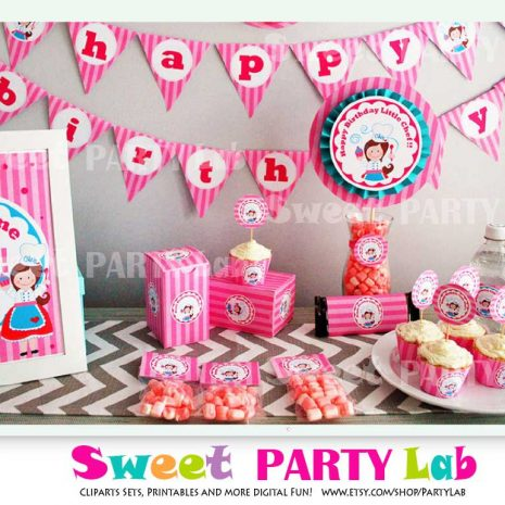 Printable Little Chef Baking Party Birthday Express Party Package Decoration | E022