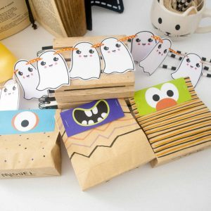 Printable Little Monster Halloween Treat Bag Toppers, Party candy Bags | E200