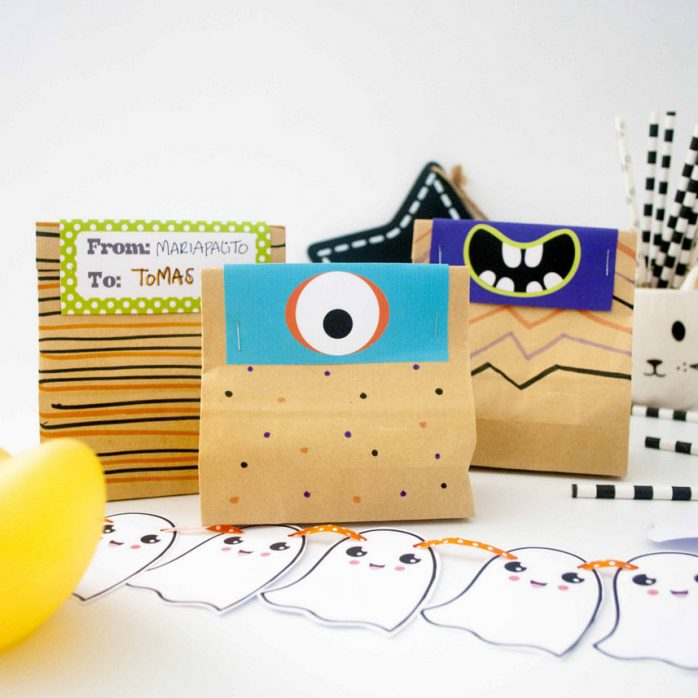 Printable Little Monster Printable Bag Toppers for your Toddler Kids Halloween Treat Bags or Party candy Bags | HOHW1 | E200