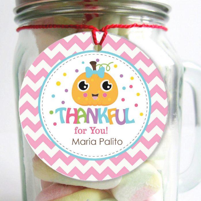 Printable Little Pumpkin Thankful Thanksgiving Gift Tags | E307