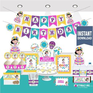 Printable Mexican Girl COCO Birthday Party Package Set | Day of the Dead Express Party Package Set  | COCO MOVIE | E046