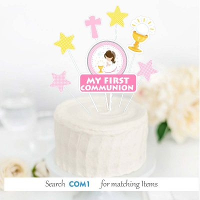 Printable Girl My first communion Pink Express Party Package Set   PK06   E186