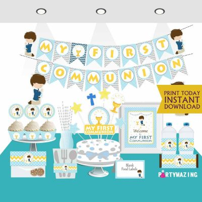 Printable Boy My first communion Blue Express Party Package Set   PK06  E018