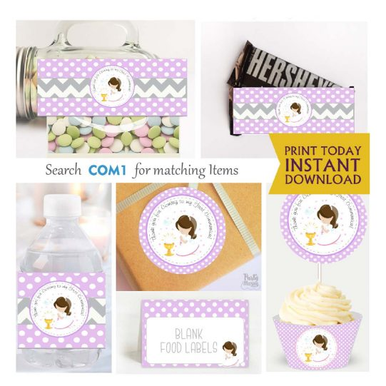 Printable My first communion Party Decor SExpress Party Package Set  | COM1 | E189