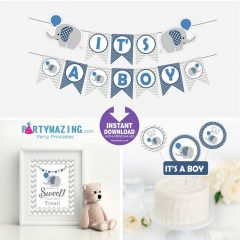 Navy Blue Elephant Baby Shower Party Package Set | Printable Express Party | PK03 | E015