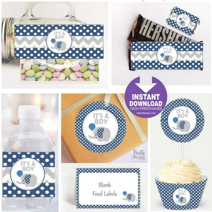 Printable Navy Blue Elephant Baby Shower Express Party Package Set | E015