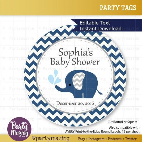 Printable Navy Blue Elephant Tags | Baby Shower Stickers | Thank You Party | Favor Tag | Toppers | Chevron | BBEN1 | E119