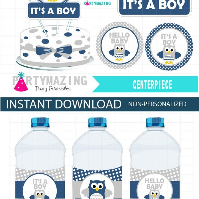 Printable Navy Blue Owl Baby Shower EXPRESS Party Set Package | E335