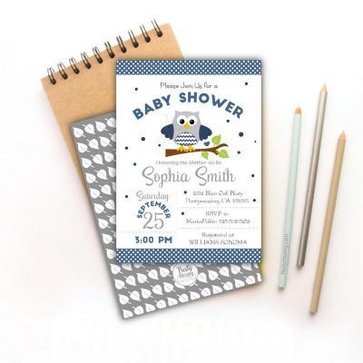 Printable Navy Owl Baby Shower Invitation | E342