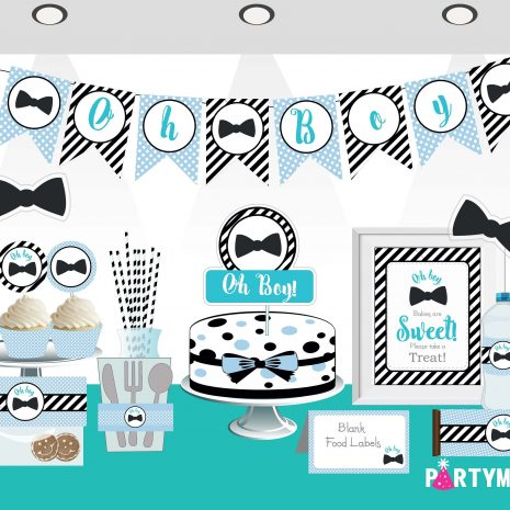 Printable Oh Boy Baby Shower Set | Little Man EXPRESS Party Package | Blue Bow Tie Party Decoration Kit | BBLM1 | E026