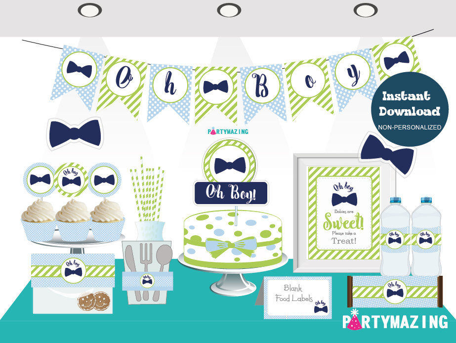 Printable Oh Boy Baby Shower Set | Little Man Quick Party Package | Blue Bow Tie Party Decoration Kit | BBLM1 | E023