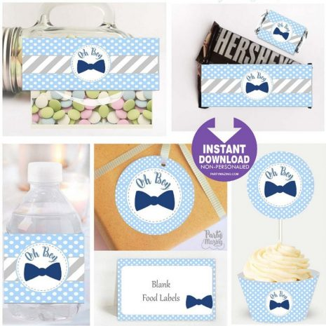 Printable Oh Boy Little Man Quick Party Package Set  | E028