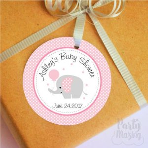 Printable Personalized Pink Elephant Tags for Baby Shower Party Favor Tags | E265